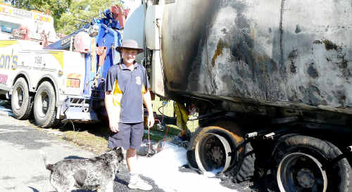 St Mary's College student Indiana Ridgely helped try to extinguish a burning garbage truck.