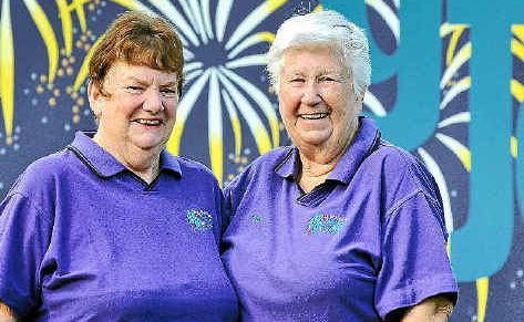 Harbour Festival volunteers Kath Neilson and Lyn Powell love the fun of the festivities.