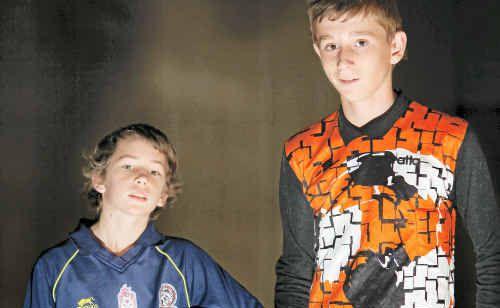 Redbulls goalkeeper Trent Minor (left) and Rockstars 'keeper Riley Raven.