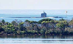The United States Navy submarine USS Corpus Christi passes through the southern shipping channel off Bribie Island.