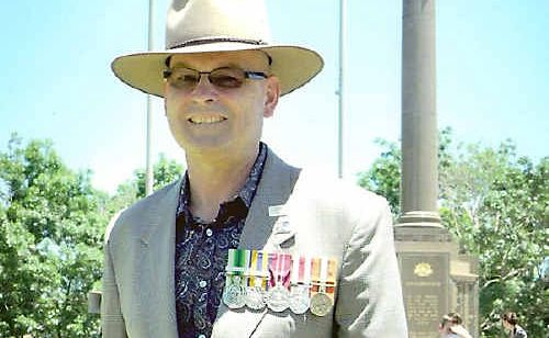 Ex-serviceman David Hartshorn attends the Remembrance Day service in Toowoomba last year.