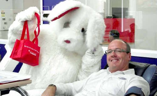 The Easter Bunny was thrilled to see Phil Dowler from CQ Rescue making a blood donation before the Easter Holidays.