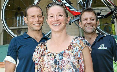Frenchville Frogs triathletes (from left) Scott Lawton, Kelly Spottiswood and Mick Busby tasted success in the 2011 Australian Championship series.