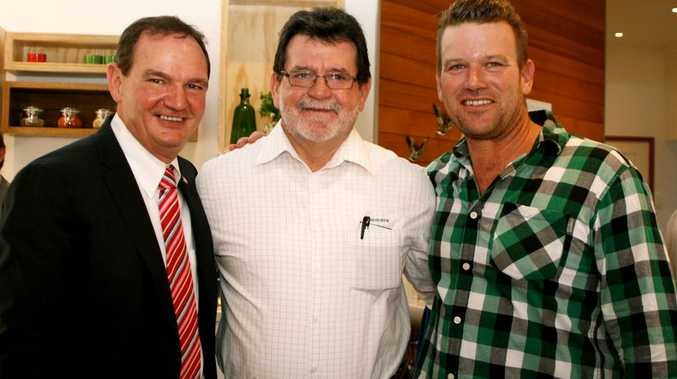 Ipswich Mayor Paul Pisasale, Bob Matthews from Rockcote and celebrity chef Ben O'Donoghue at the Ministry of Food launch.