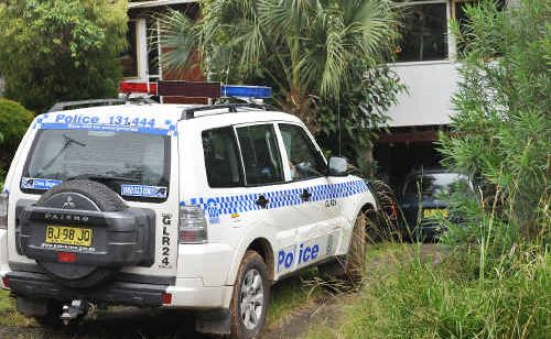 Police established a crime scene around a Sandy Beach home yesterday, the site of a weekend home invasion.