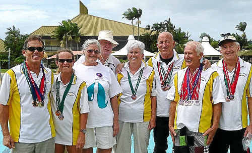 From left: Tony Hayman, Jane Lawrence, Lynne Johnstone, Bruce Johnstone, Jan Klein, Barry Serjeant, Helmut Klein and Alan Lawrence.
