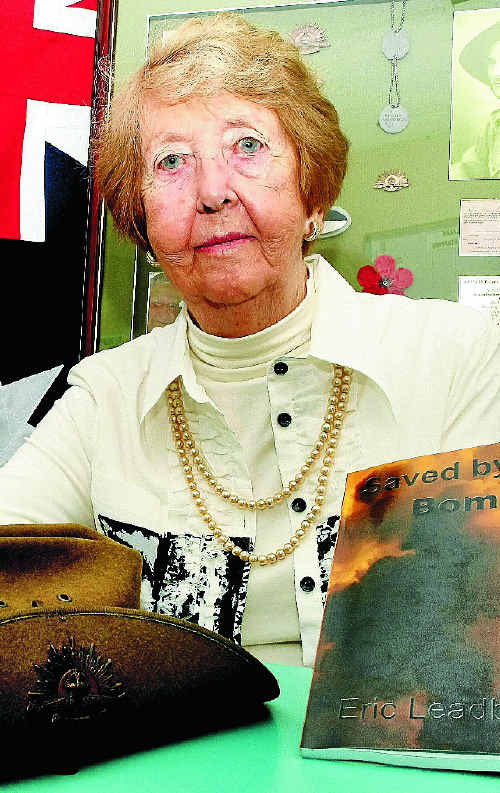 Margaret Leadbetter with her husband Eric's memoirs Saved by the Bomb.