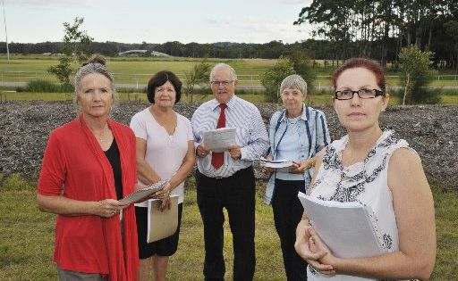 The Kawana Forest Residents Association want an on and off ramp at the Meridan Way overpass so they have better access to the playing fields at Meridan Way.extra From left is Lorraine Stocker, Maureen Allen, Rod Burton, Elaine Housen and Narda Smithers.