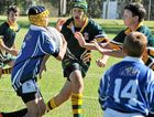 Joe Morris attacks for Allora/Killarney in a Broncos Cup loss to Assumption in rugby league.
