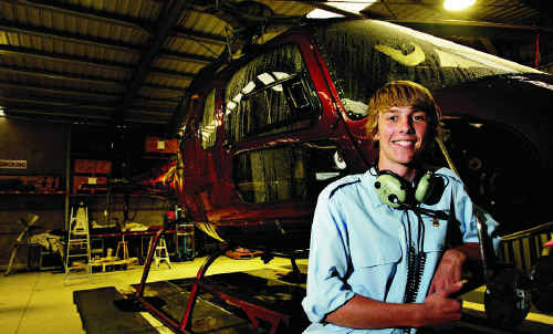 Morgan Vidler celebrates his 16th birthday ... and gaining his student helicopter pilot's licence.