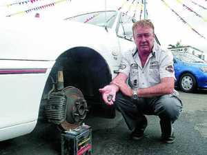 Thieves strip ute of wheels, rims