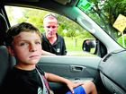 Reece Gaddes, 11, of Grafton was left scarred after a rock hit his face (inset) while he, his father Scott and brother Tyler were driving down Arthur St in Grafton. Photo: Debrah Novak