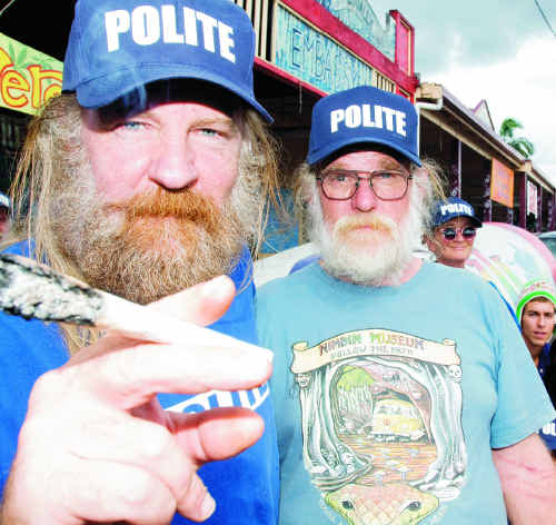 Max Stone (left) and Michael Balderstone in front of the Hemp Embassy and Hemp bar, ahead of the Nimbin MardiGrass at the end of April.
