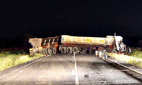 The scene that confronted emergency services personnel sent to the fatal truck crash on the Capricorn Highway last week.