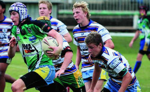 A Central Highlands junior on trial and on the run at McIndoe Oval.