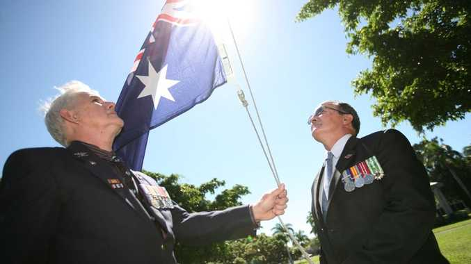 RSL Historian Col Benson and Mackay RSL Sub-branch President George Newton are preparing for Mackay's Anzac Day Service at Jubilee Park.
