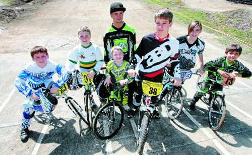 (from left) Scott Thomasson, Declan Holter, Jordan Massie, Josh Hurt, Jacob Bainbridge, Samantha Thomasson, and Jesse O'Donnell are among a group of 15 Rockhampton BMX riders off to compete in the national titles next week.