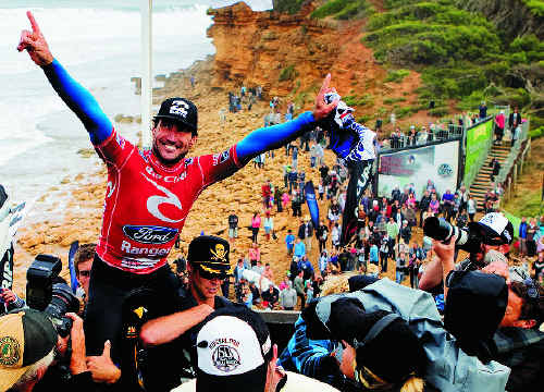 Tweed's Joel Parkinson chaired up the stairs at Bells Beach after winning the Rip Curl Pro. Photo: ASP SCHOLTZ