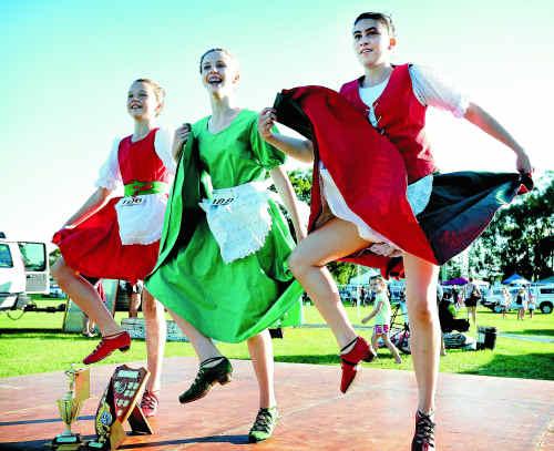 Irish jig prize winners (from left) Mhairi Gorman, 13, Freya Ramsay, 12, and Brittany Treadwell danced up a storm on Saturday.