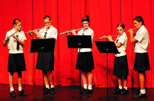St Mary's flute players at the eisteddfod.