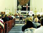 A family member speaks about Ellie Louise Mason during her funeral at St Mary's Catholic Church, Casino.