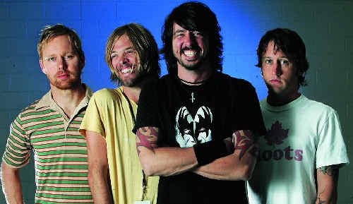 The Foo Fighters, from left, Nate Mendel, Taylor Hawkins, Dave Grohl and Chris Shiflett. There will be special screenings of the Foo Fighters movie Back and Forth, tonight, tomorrow and Saturday at Mt Pleasant cinemas.