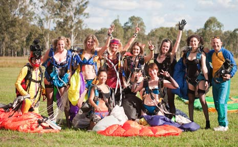LADIES DRESSED IN nothing but lingerie skydived over Toogoolawah at the weekend.