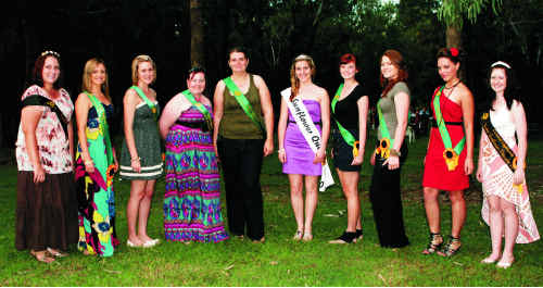 The 2011 Sunflower Queen and Princess entrants with last year's winners and the Canadian Sunflower Queen.