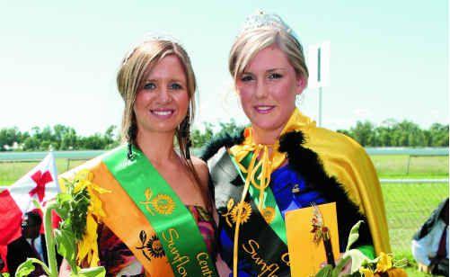 Sunflower Queen runner-up Hayley Henson with winner Amy Spannagle.