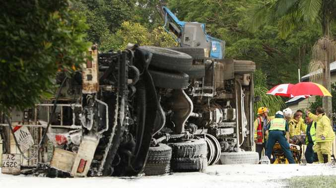 A truck overturned at the bottom of Landsborough-Maleny road at the Gympie street roundabout.