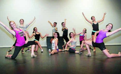 Senior students from Natalie Latimer's Dance Euphoria academy rehearse for the tap group section of the Eisteddfod at the Pilbeam Theatre.