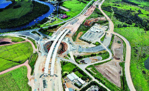 An aerial photo of work on the Ballina bypass, at the Teven Road interchange.