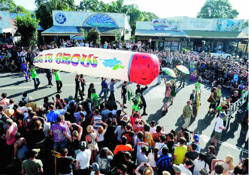 The famous Big Joint is carried down Nimbin's main street.