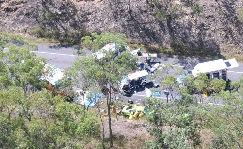 An aerial shot of the crash site.