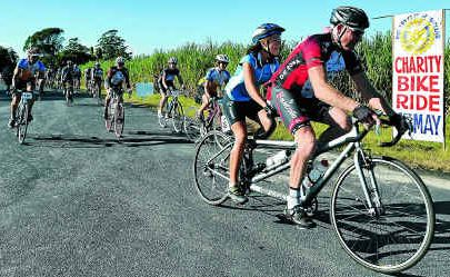 Russell Leary, of Palmers Island (front), took part in Sunday's Tour de Woodford which saw record numbers of riders take part.