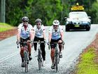 Cowper MP Luke Hartsuyker (left) pedals along the Orara Way yesterday on his three-day bike ride for charity.