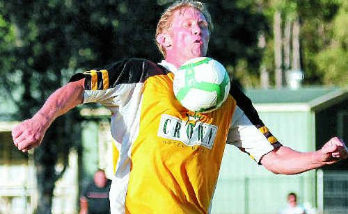 WESTLAWN Panthers player Stuart Tate takes a ball to the chest during play against Coutts Crossing on Saturday.