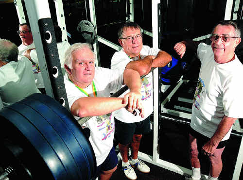 Ted Rutledge, Don Carrieres and coach Fred Goodwin have returned to the Coast after a successful campaign at the Australian Masters PowerLifting Championships.