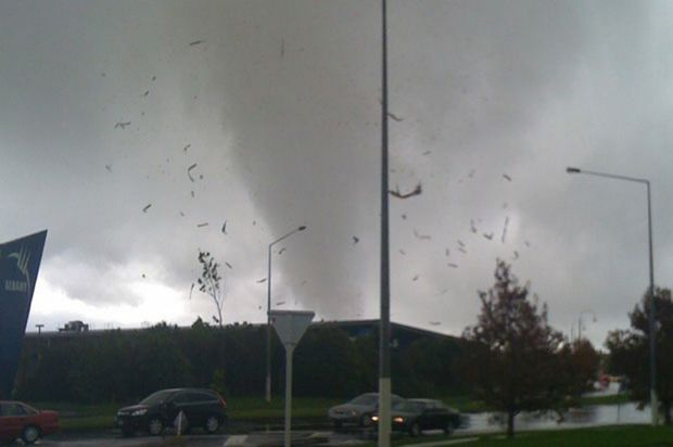 A tornado seen in Albany in Auckland, New Zealand.