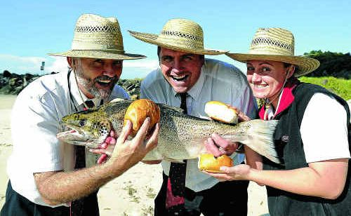 Evans Head will be joining in the Beef Week celebrations this year, with Evans Head IGA grocery manager Shane Todd (left) and managers Leigh Fitzgerald and Kristy George, offering free fish burgers on May 25.