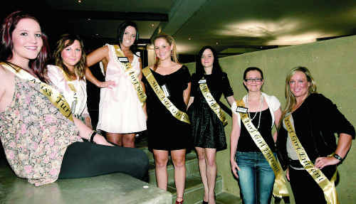 Miss Turf Girl entrants, from left, Brittanie Dreghorn, Caitlin Uren, Jessica Murphy, Sam Nutt, Anna Ridell, Meredith McElligott and Jodie Cooper meet for a friendly chat before the race day judging. Entrant Melanie McDowall was absent.