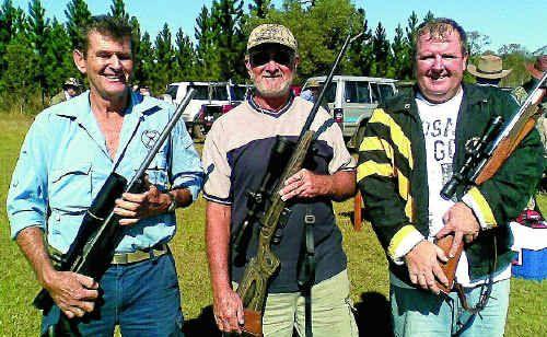 Greg Mills-Thom, Derek Higgins and Glen McPhillips at the Grafton Rifle Club field class shoot on Saturday.
