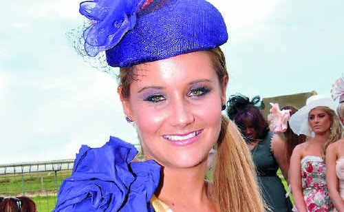 Winner Samantha Nutt adds a splash of colour to Miss Turf Girl 2011.
