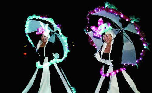 Maxine Ollett and Nita Nicolai, aka 'Bubbles and Babs', at the parade in Mirani.