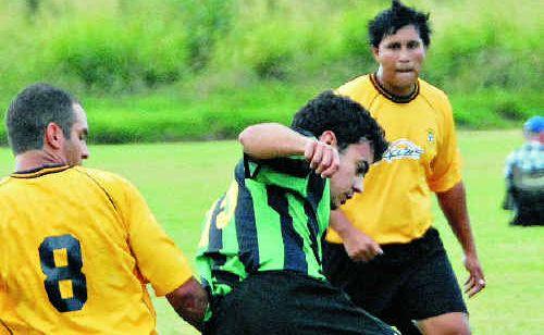 Rangers' Brendon Sant (left) and Lions' Robert Da Silva battle for the ball.