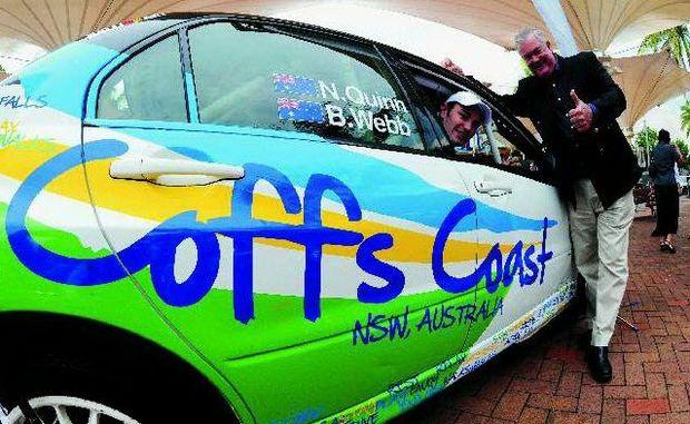 Mayor Keith Rhoades and Nathan Quinn launch the Coffs Coast rally car.