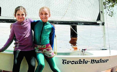 Steph Robertson, 7, and Maya Turnbull, 8, were double trouble on the water.