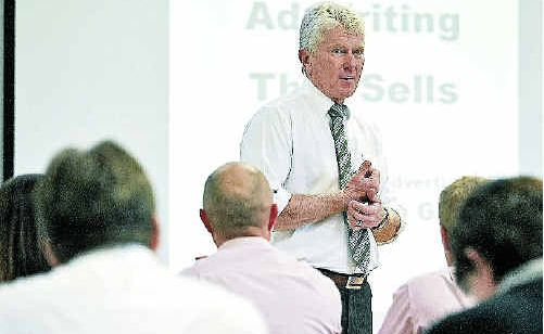 Real estate marketing consultant Ian Grace talks to Clarence Valley agents at the South Grafton Ex-Servicemen's Club.