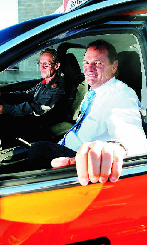 Paul Pisasale with cab driver Glenn Welland.