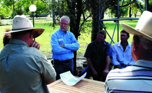 QRC CEO Michael Roche listens to landholders about Strategic Cropping Land and mine development in the Golden Triangle.